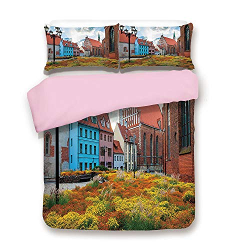 (Pink Duvet Cover Set,Queen Size,Old City Riga Latvia Capital with Historical Buildings Medieval Town Image Decorative,Decorative 3 Piece Bedding Set with 2 Pillow Sham,Best Gift For Girls Women,Multic)