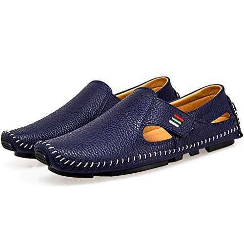 Ceyue Men's Driving Shoes Penny Loafers Casual Leather Stitched Loafer Shoes(Blue 42)