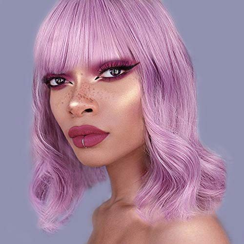 AISI HAIR Wavy Wig with Bangs Curly Bob Short Wigs Purple Mixed Pink Hair Short Cosplay for Halloween Heat Resistant Synthetic Wig]()