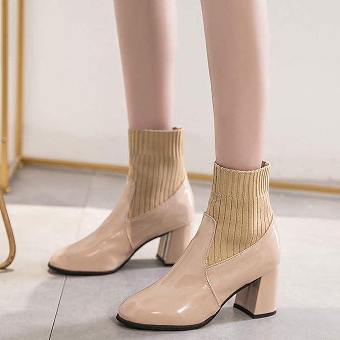 DERENFR Boots Femme Cuir,Bottines Femme Cuir,Chaussures