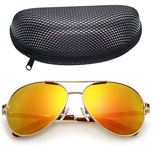 Mirrored Aviator Sunglasses for Women by LotFancy, Revo Red Lens, Gold Metal Frame