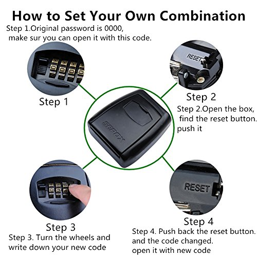 SEPOX Key Lock Box Wall Mount,Portable Key Safe with 4-Digit Combination  for Indoor or Outdoor Hold Up to 5 Keys Large Space for Car Keys