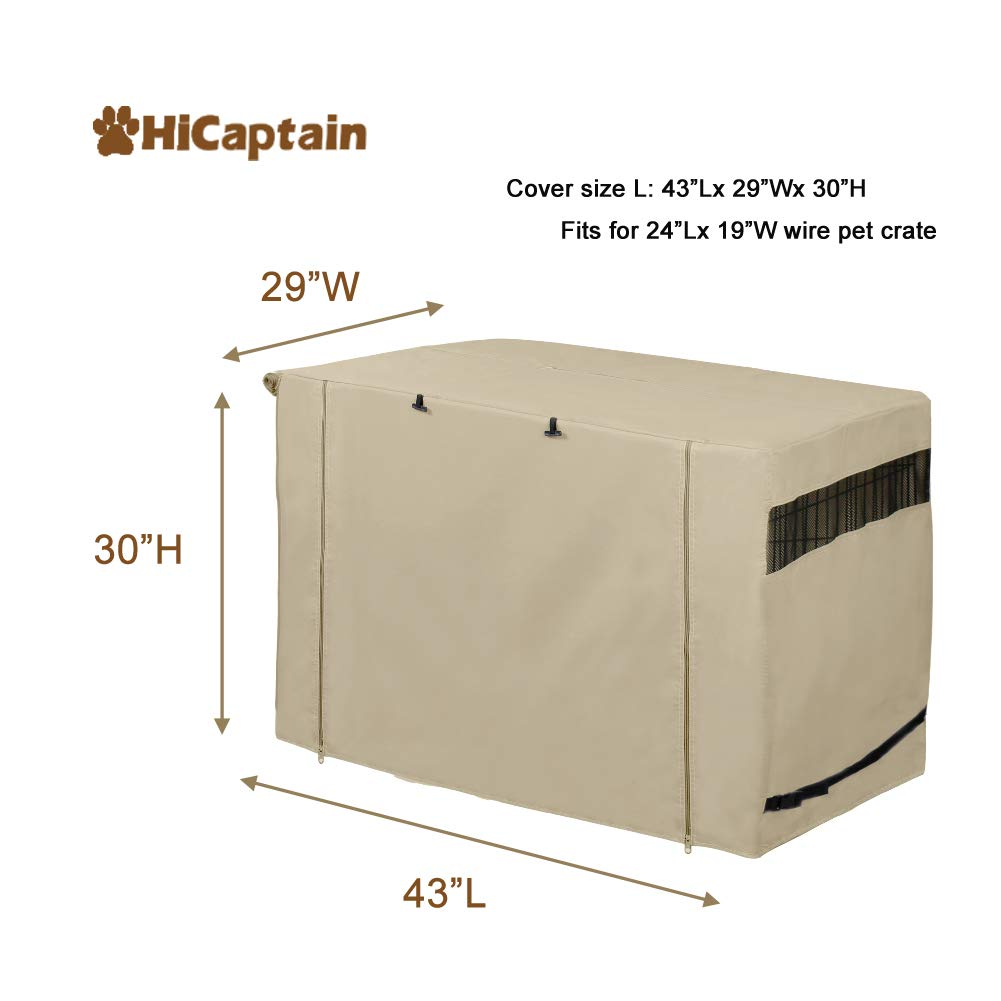 HiCaptain Polyester Dog Crate Cover, Durable Windproof Pet Kennel Cover Provided for Wire Crate Indoor Outdoor Protection (42 Inch, Tan) by HiCaptain (Image #2)