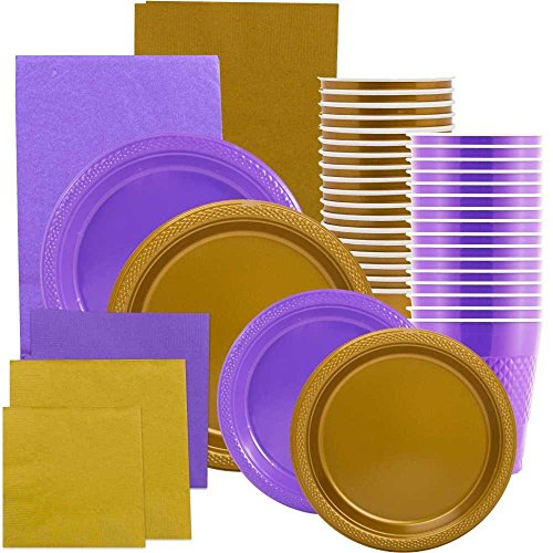 JAM Paper Party Supply Assortment - Purple & Gold Grad Pack - Plates (2 Sizes), Napkins (2 Sizes) , Cups & Tablecloths - 12/pack