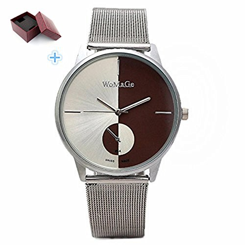 Women Men Mens Casual Classic Stainless Steel Mesh Quartz Wrist Watch (4 cm, A)