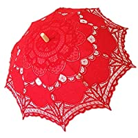 AEAOA Handmade Lace Parasol Umbrella Wedding Bridal 30 Inch Adult Size