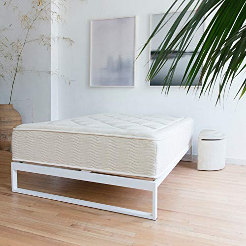 Mínimo - Snow White 12 Inch Metal Bed Frame, Mattress Foundation, Platform Bed, Wood Slat Support, No Boxspring Needed (Queen)