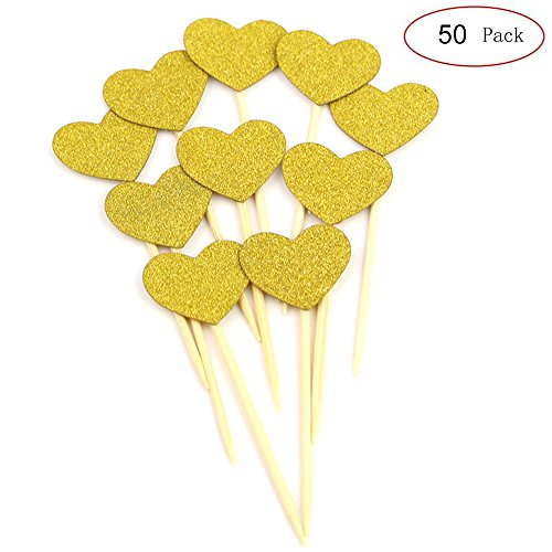 iMagitek 50 Pcs Heart Shaped Gold Glitter Heart Cupcake Toppers Cake Decorations for Wedding and Baby Birthday (Heart Cake Gold)