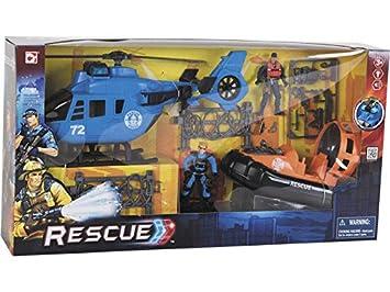 DQTOYS Helicóptero y Lancha De Rescate con Accesorios: Amazon.es ...