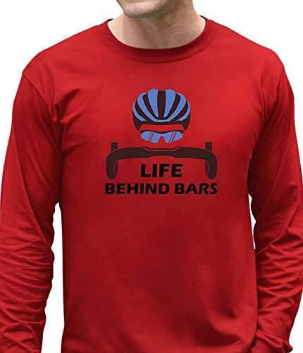 Tstars Life Behind Bars - Best Gift For Bicycle Riders Funny Bike Long Sleeve T-Shirt X-Large (Bar Long Sleeve T-shirt)