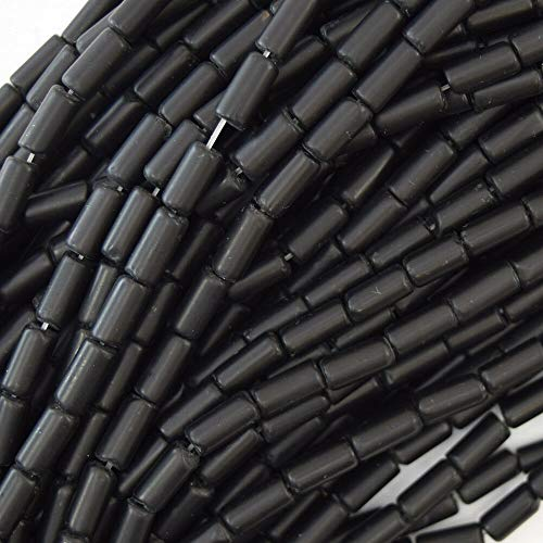 buyallstore 8mm Matte Black Onyx Tube Beads 15