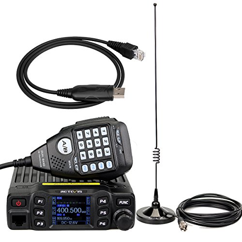 RT95 Mobile Radio Dual Band144/430MHZ 25W 200CH CTCSS/DCSDTMF Mobile Transceiver with Magnetic Mount Antenna and Programming Cable by Retevis