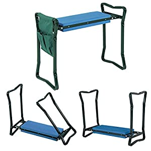Ebung Garden Kneeler & Seat – Effective Knee Cushion That Transforms to Seat for Convenient Resting – Flip up Side Down 2-in-1 Design – Includes Tool Pouch – Sturdy Build Gardeners Foldable Kneeler