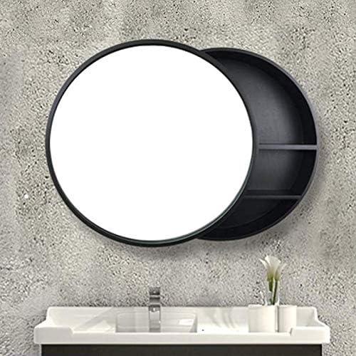 JJSFJH Espejo de Almacenamiento Oculto gabinete de medicamentos gabinete de Madera con Marco Espejo Puerta baño Lavabo Redondo (Color : Brown, Size : 70cm): Amazon.es: Hogar