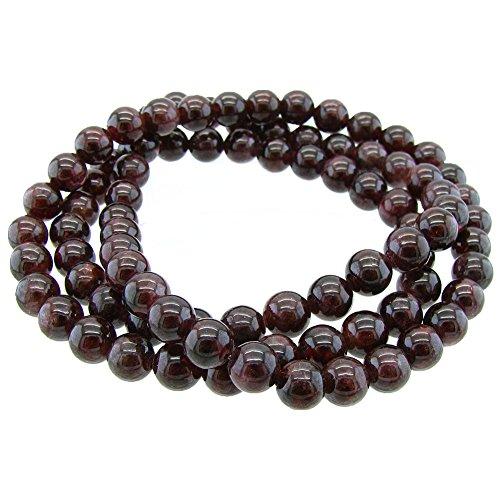 Gem Stone King Stunning 6mm Round Stackable Garnet Bead Stretchy Wrap Bracelet/Necklace