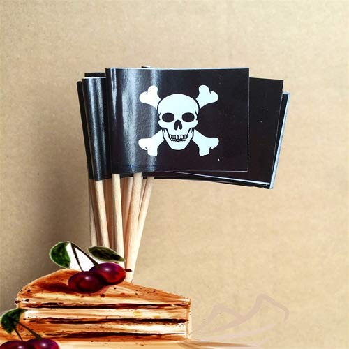 100PCS Pirate Toothpick Flag, Food Fruit Cocktail Picks Cupcake Topper for Birthday, Party Decorations Supplies (style 2)