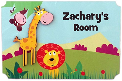 (Rikki Knight Zachary's Room - 3D Giraffe on Jungle - Door Sign Plaque with Name for Children and Baby's Bedroom)