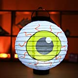 Mirabelley Unique Halloween Decoration LED Paper Light Hanging Lantern Lamp Halloween Props Lantern for Outdoor Party Supplies
