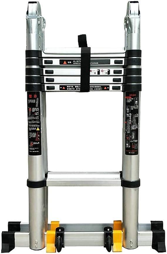 AFDK Multi-Purpose Aluminium Telescopic Ladder A-Frame Telescoping Extendable Ladders with Wheel, 330Lb Load Capacity 10.4ft ,1.6m+1.6m=3.2m