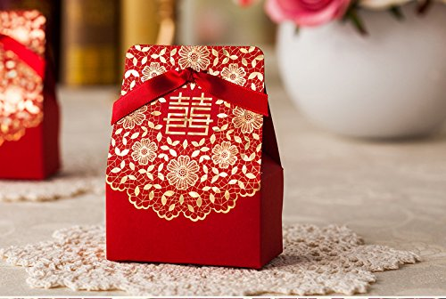 Saitec ®Pack of 50ps Double Happiness Design Chinese Red Candy Box, Classical Wedding Candy Boxes, Wedding Favor Gift Box Favor boxes With (Happiness Wedding Favor)
