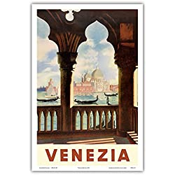 Venezia (Venice), Italy - Gondolas on Grand Canal - St. Mark's Basilica (Basilica di San Marco) - Vintage World Travel Poster c.1938 - Master Art Print - 12in x 18in