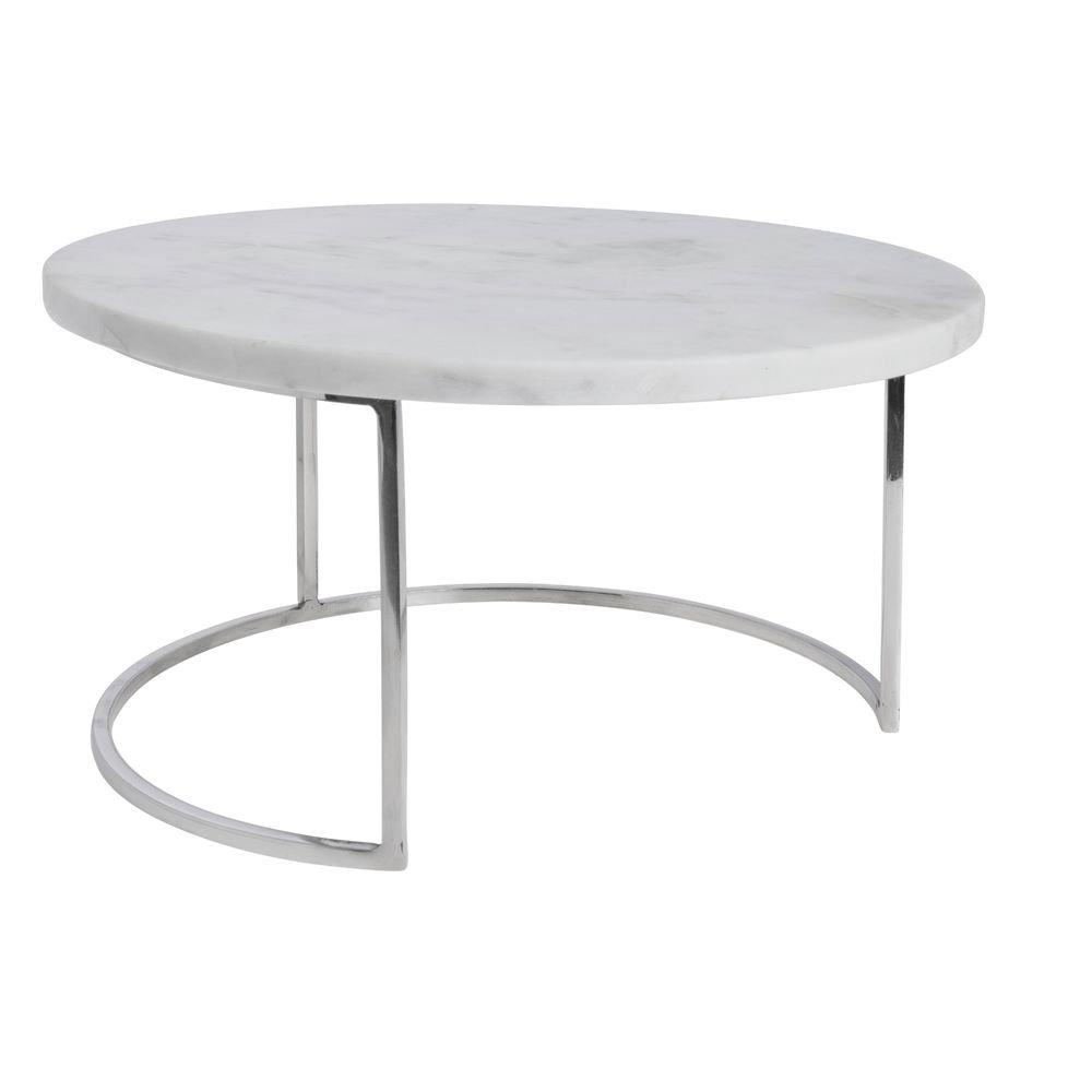 White Marble and Chrome Round Cake Plate - 11 9/10'' Dia x 11 9/10'' H
