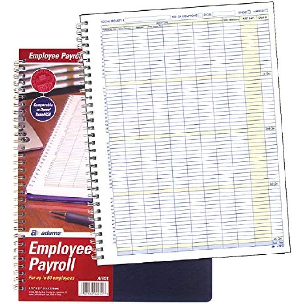 Employee Payroll Record, 50 Capacity, Spiral Binding, 8.5
