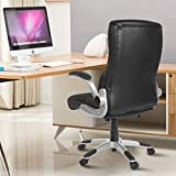 Best Office Chairs for Back Support YAMASORO Ergonomic Executive Leather Office Chair High Back with Flip-Up Arms,Thick Headrest and Lumbar Support Black