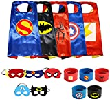 Ecparty Superheros Capes and Mask Matching Wristbands with Original Superheros Logo for Kids