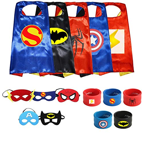 Ecparty Superheros Capes and Mask Matching Wristbands with Original Superheros Logo for Kids -