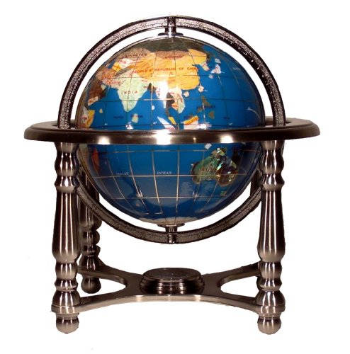 Unique Art 10-Inch Tall Turquoise Ocean Gemstone World Globe with 4 Leg Silver Stand (Globe Turquoise Mother Pearl Of)