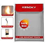 Kescky Fireproof Document Bag 15.3'' x 11.4'' Fire&Water Resistant Money Bag with Non-Itchy Silicone Coated Fiberglass,Fireproof Safe Pouch Storage for Documents,Case,Jewelry and Passport
