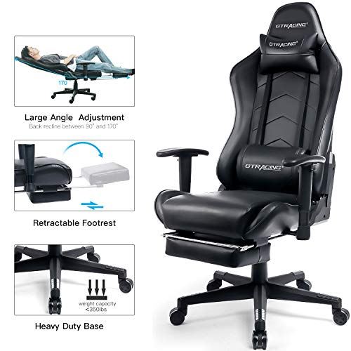 GTRACING Big and Tall Gaming Chair with Footrest Heavy Duty Adjustable Recliner with Headrest Lumbar Support Pillow High Back Ergonomic Leather Racing Computer Desk Executive Office Chair GT901 Black