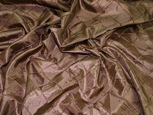 Small Embroidered Squares Taffeta Dress Fabric Brown - per metre