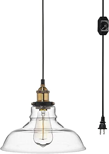 Kiven 11 Glass Lampshade Vintage Pendant Lamp Retro Lighting Industrial Factory Light Fixtures with 20ft UL Listed Plug-in Dimmable Black Cord Bulb Not Included