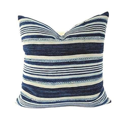 African Indigo Farmhouse Stripe Pillow | JACKO 18x18
