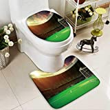 Analisahome Toilet carpet floor mat evening stadium arena soccer field 2 Piece Shower Mat set