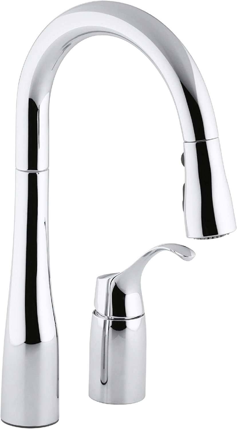 KOHLER K-649-CP Simplice Pull-Down Secondary Sink Faucet, Polished Chrome