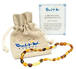 Amber Teething Necklace for Babies (Unis...