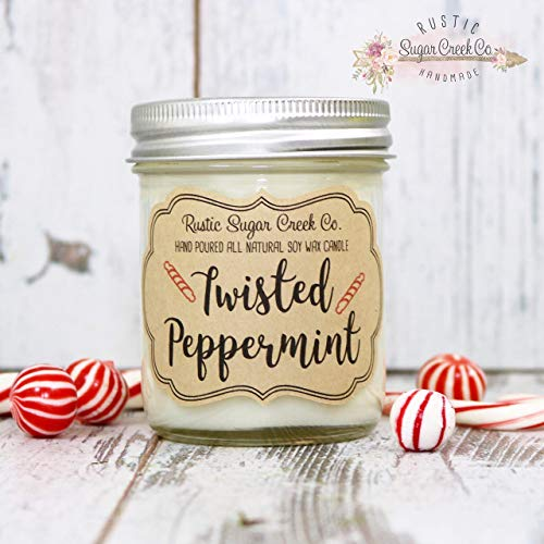 Twisted Peppermint Scented Candle, Candles, Christmas Candles, Holiday Gift, Xmas Gift, Holiday Decor, Xmas Gift Idea, Holiday Candles