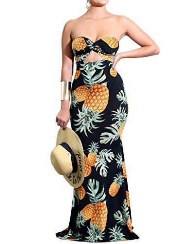 pless Pineapple Print Bandeau Maxi Dress Twist Cut Out Tube Dress Fishtail Evening Gown (Cut Out Tube Dress)