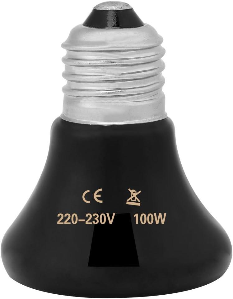 50-100W Emisor de cerámica infrarrojo Luz de calor Mascota criadora Reptil Calentador Lámpara Bombilla para lagartos Tortuga Pollo Anfibio Aves de corral(100w)