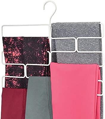 mDesign Compacta percha para pantalones de yoga, leggins, etc. – Organizador de accesorios para armario – Percha organizadora de pantalones con 8 ...