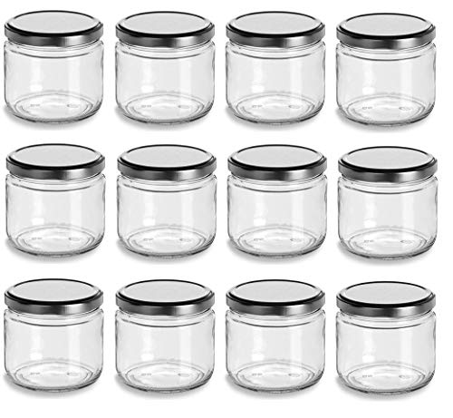 Nakpunar 12 oz Wide Mouth Glass Jars with Silver Lids -Set of 12 - Salsa style -...