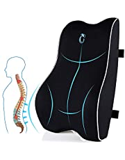 Lumbar Support Pillow for Office Chair, Memory Foam Back Cushion with Updated 3D Mesh Cover, Car Seat Back Pillows for Back Pain Relief, Ideal Back Pillow for Computer/Desk Chair, Car Seat, Etc.