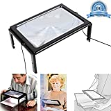 Full Page Magnifier for Reading 3X Magnification Hands Free, Foldable Desktop Magnifying Glasses with 4 LED Lights, Stand & Neck Cord Portable for Old People, Jewelry Loupe, Handicraft.