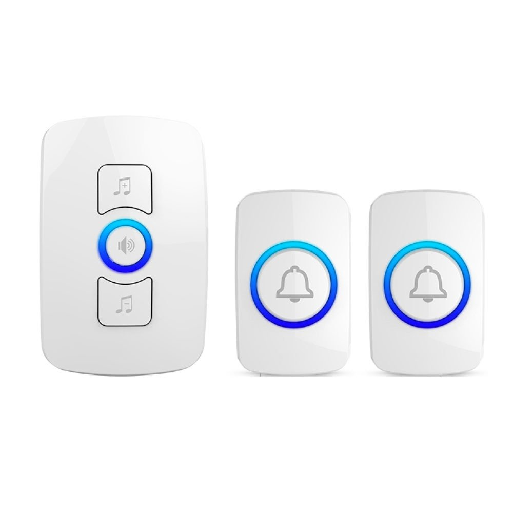 NQFL Wireless Doorbell Call Mobile Old Caller Home Voice Intercom Long-distance Call,White1Receiver+2Button by NQFL (Image #1)