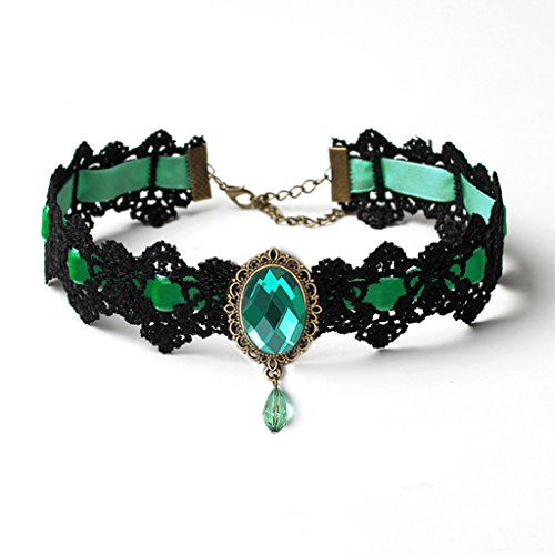HappyStory Fashion Jewelry Gothic Victorian Velvet Crystal Choker Necklace ()