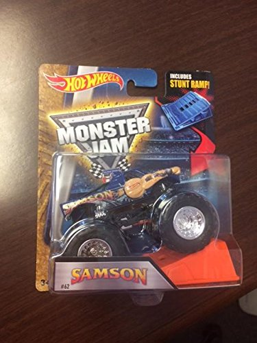 HOT WHEELS MONSTER JAM SAMSON INCLUDES STUNT RAMP #62 NEW RARE