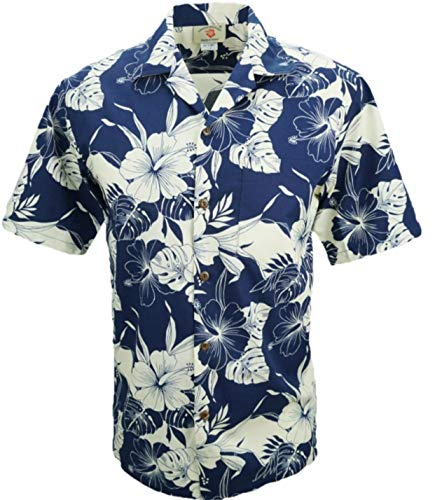 Mens Hibiscus Aloha Shirt - Tropical Luau Beach Cotton Print Men's Hawaiian Aloha Shirt (Small, Hibiscus Leaves Blue/Beige)